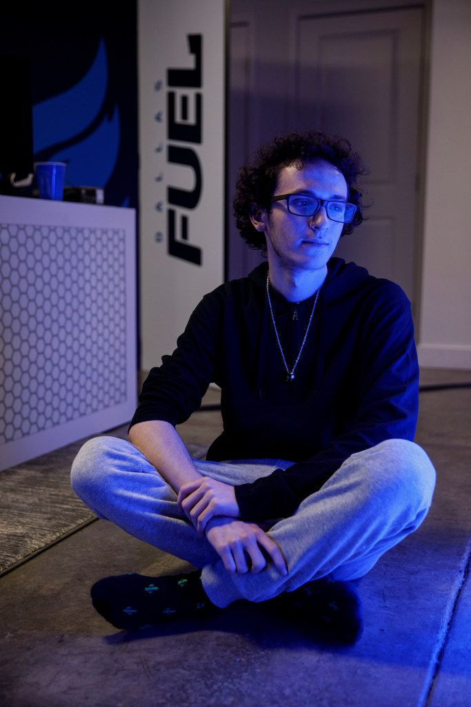 """Zachary """"ZachaREEE"""" Lombardoo - sits for a portrait after a practice scrimmage for the Overwatch League team Dallas Fuel on Friday, June 28, 2019 in Glendale, Calif. (Photo by Patrick T. Fallon/Special Contributor to The Dallas Morning News)"""