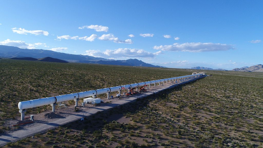Virgin Hyperloop One has a test track in the Nevada desert. Dallas-Fort Worth area transportation officials visited the site to see the development of hyperloop technology and met with the company's engineers in Los Angeles.