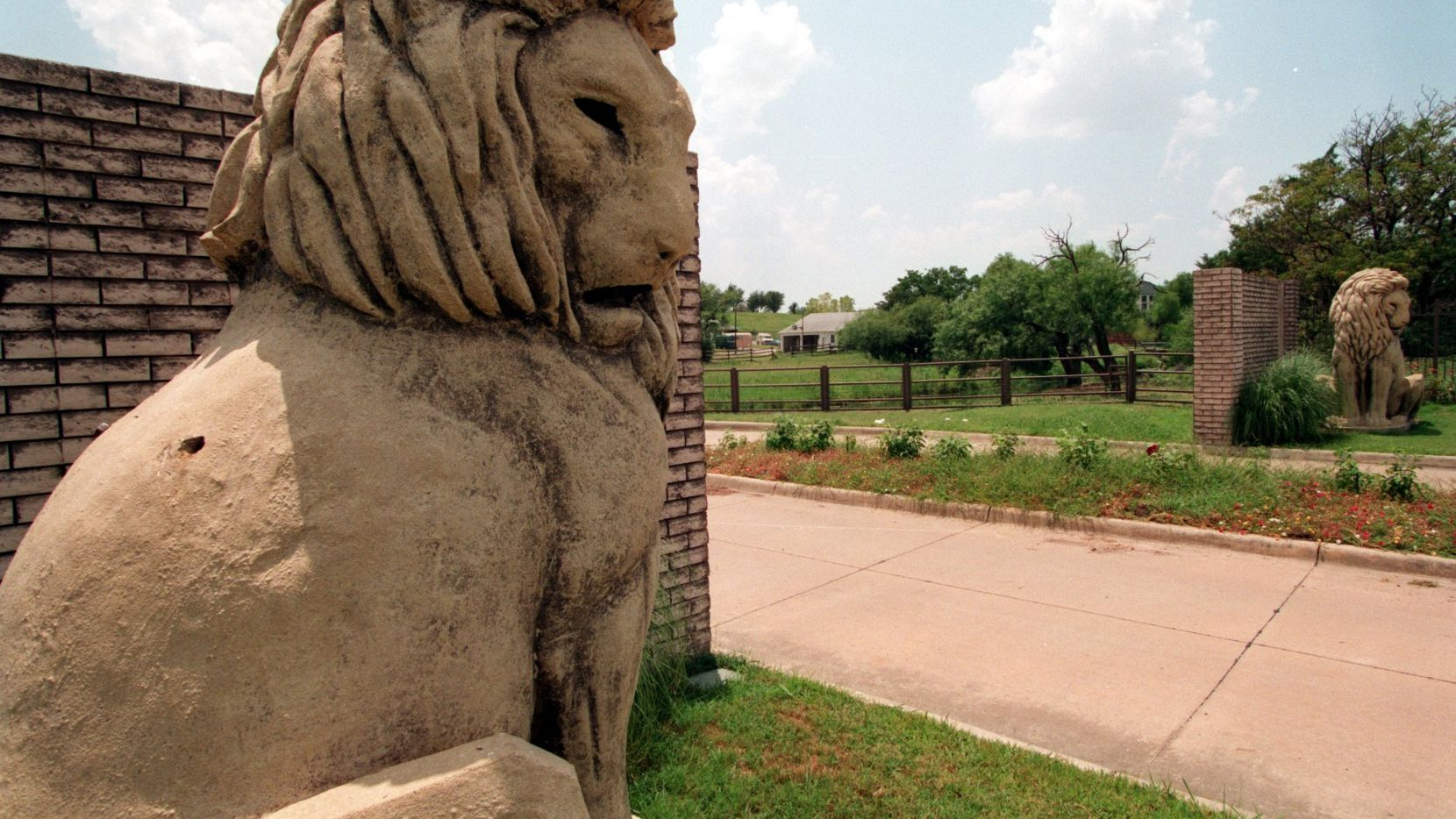 Two lion sculptures once guarded the ranch entrance for the Carpenters, the founders of Las Colinas.