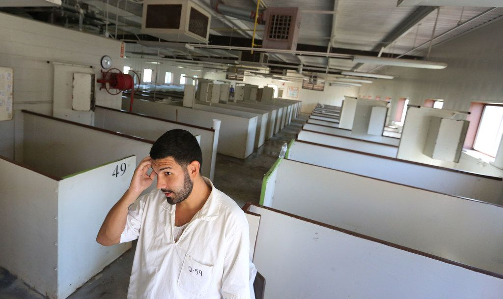 Trusty Adam Hernandez recounts his experience at the dormitory area after Hurricane Harvey flooded the building at the Texas Department of Criminal Justice Terrell Unit in Rosharon.