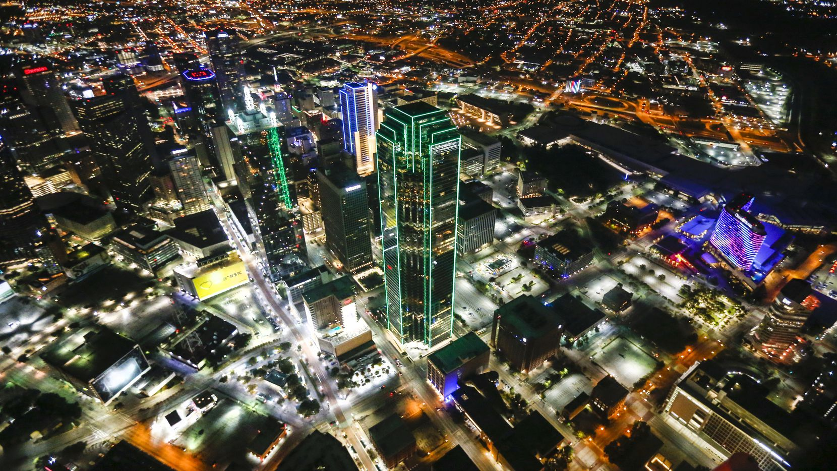 The Dallas skyline as seen from a Dallas police helicopter in early November.
