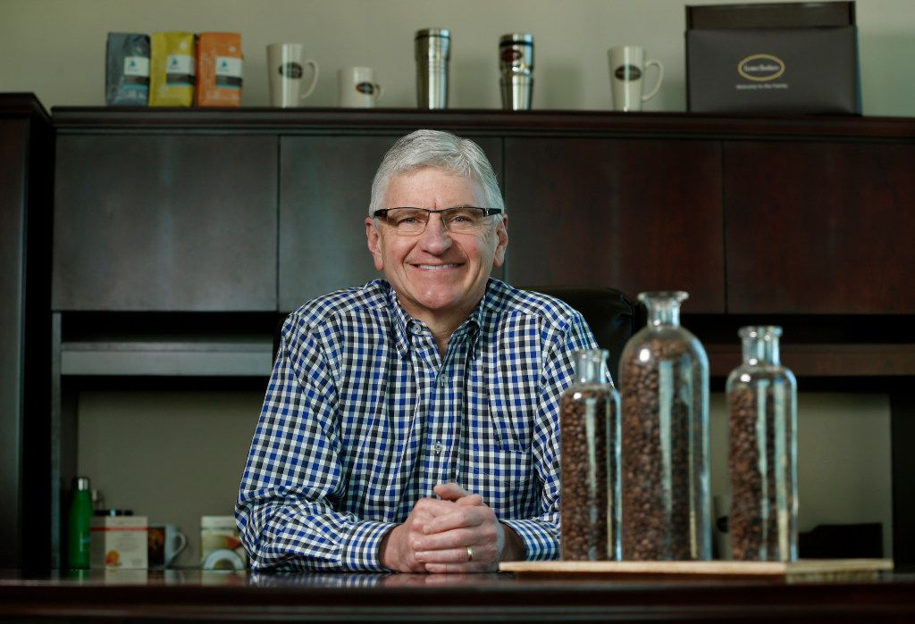 Michael Keown, CEO of Farmer Brothers Coffee poses for a portrait in his office at their temporary headquarters in Fort Worth on December 1, 2016. (Nathan Hunsinger/The Dallas Morning News)