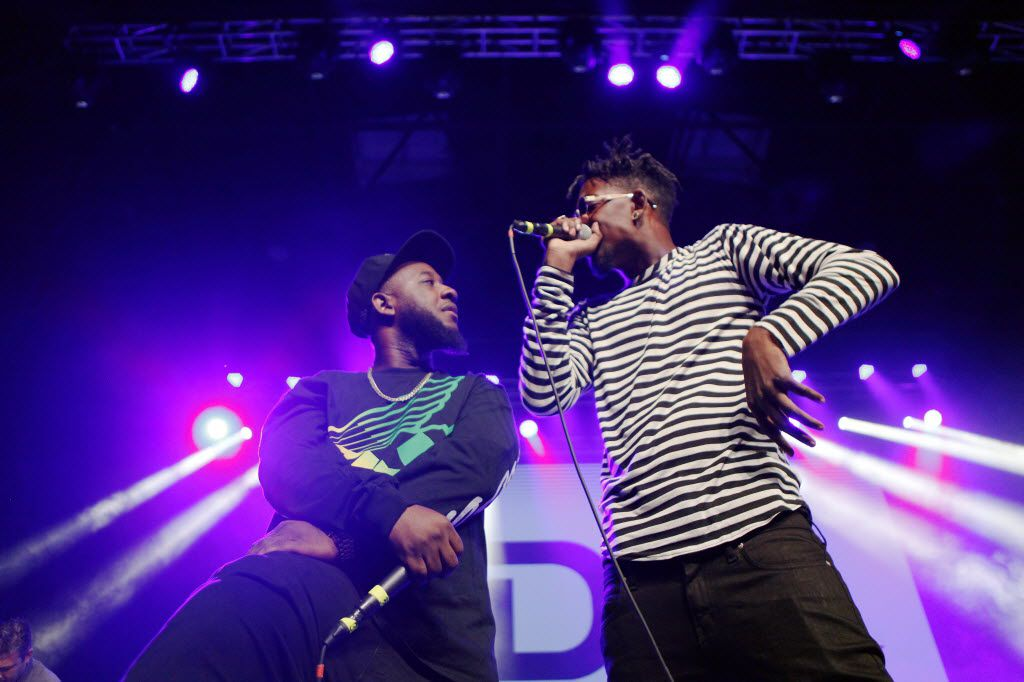 Paris P, left,  and Slim Gravy of the rap duo A.Dd+ perform during The D.O.C. Straight Outta Dallas Hip Hop event, on Saturday, Oct. 17, 2015 at The Bomb Factory in Dallas. The event included a red carpet, DJ music and performances by A.Dd+, Big Tuck, Erykah Badu and The D.O.C.