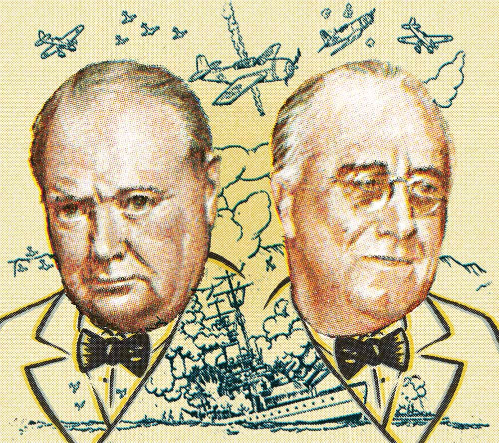 """Richmond, Virginia, USA - November 20th, 2012:  Cancelled Stamp From The United States Commemorating The Atlantic Charter And Featuring President Roosevelt And Prime Minister Churchill."""