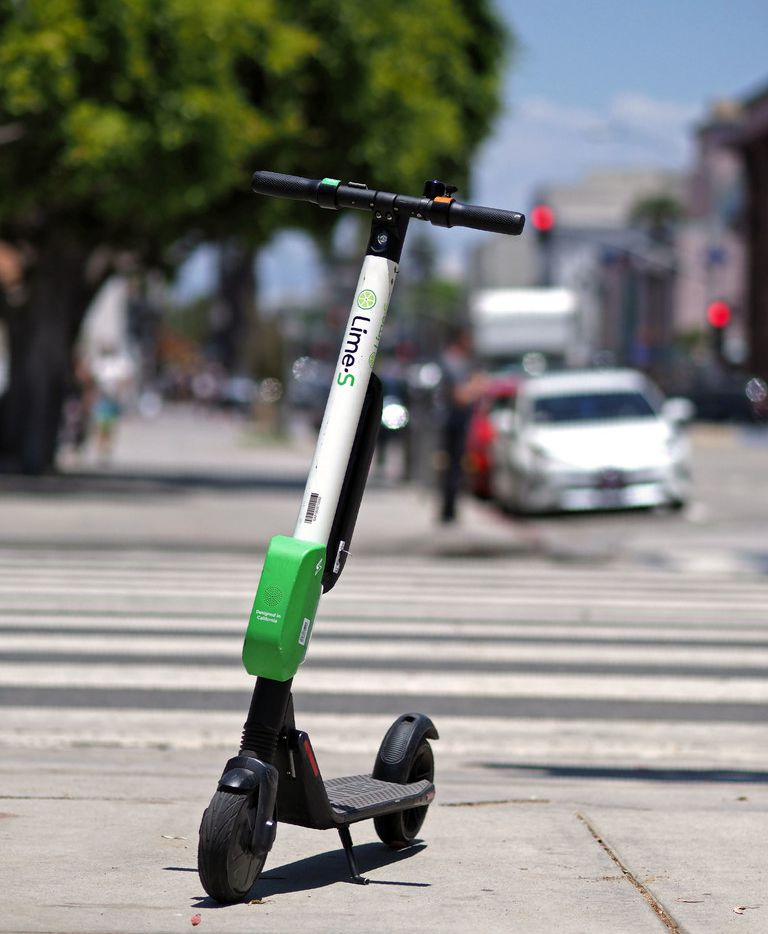 A shared electric scooter is seen in Santa Monica, Calif., on July 13, 2018.