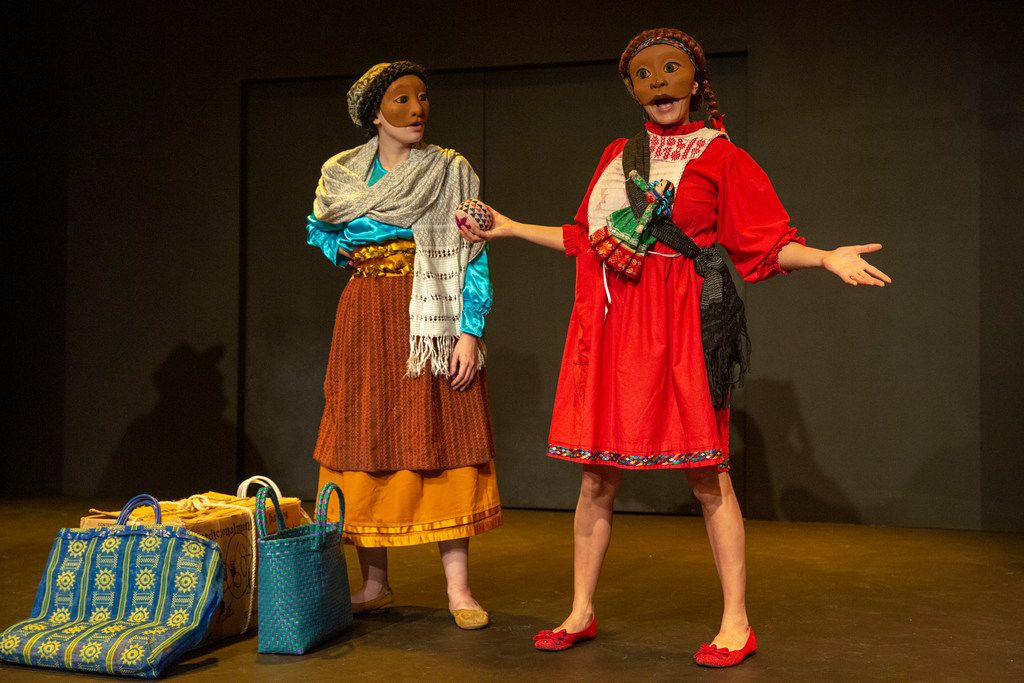 Ana Armenta (left) and Frida Espinosa Muller perform in the production of Tina's Journey at Dallas Children's Theater in Dallas, Texas on Nov. 6, 2018.