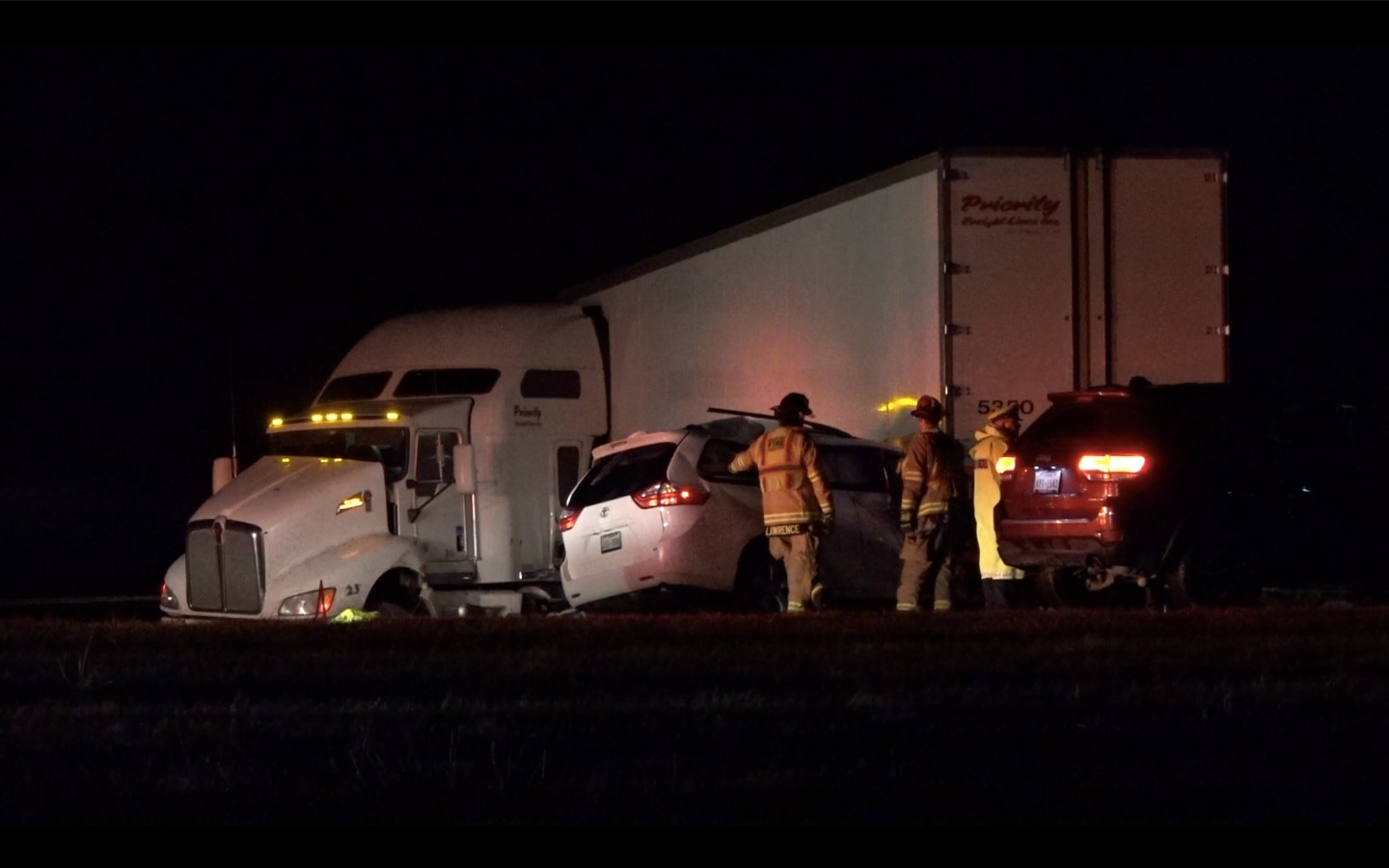 One person was killed and seven others were injured when a minivan slammed into a tractor-trailer that had jackknifed early Monday on Interstate 20 in Willow Park, west of Fort Worth.