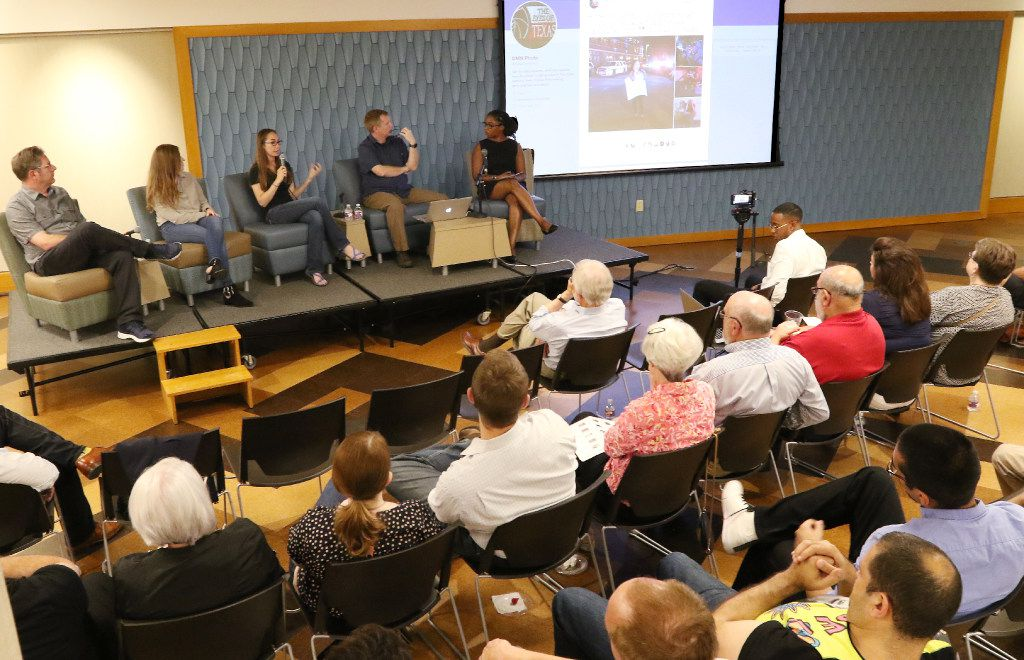 Ashley Landis, center, talks about one of her images as Tom Fox, left, Rose Baca, Smiley Pool and The Dallas Morning News director of photography Marcia Allert , listen during a discussion about the July 7th ambush at J. Erik Jonsson Central Library, on Thursday evening, July 6, 2017, in Dallas Texas.