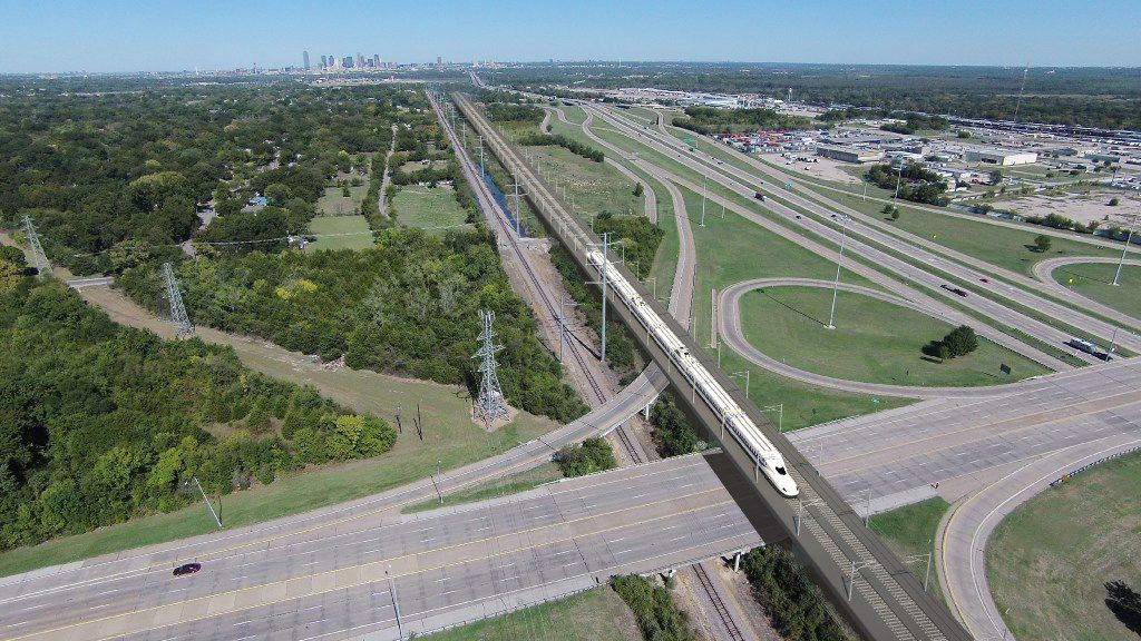 This concept photo from Fluor Corp. shows how the proposed Dallas-to-Houston bullet train might look.