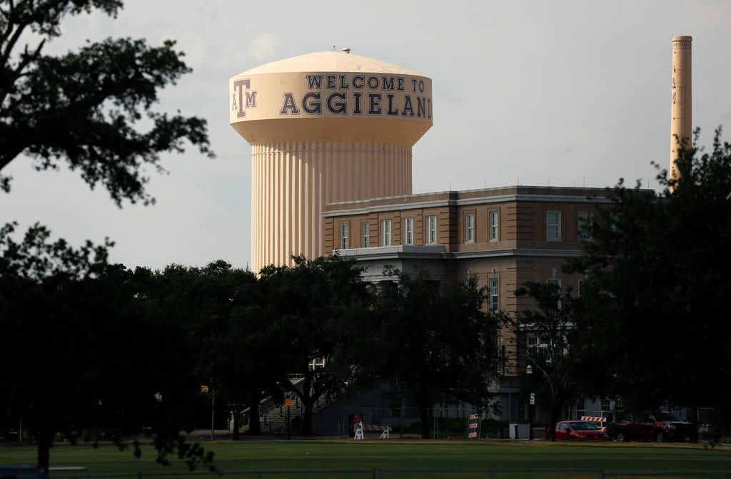 Welcome to Aggieland is painted on the central water tower on the Texas A&M University (TAMU) campus in College Station, Texas, Thursday, August 8, 2019.