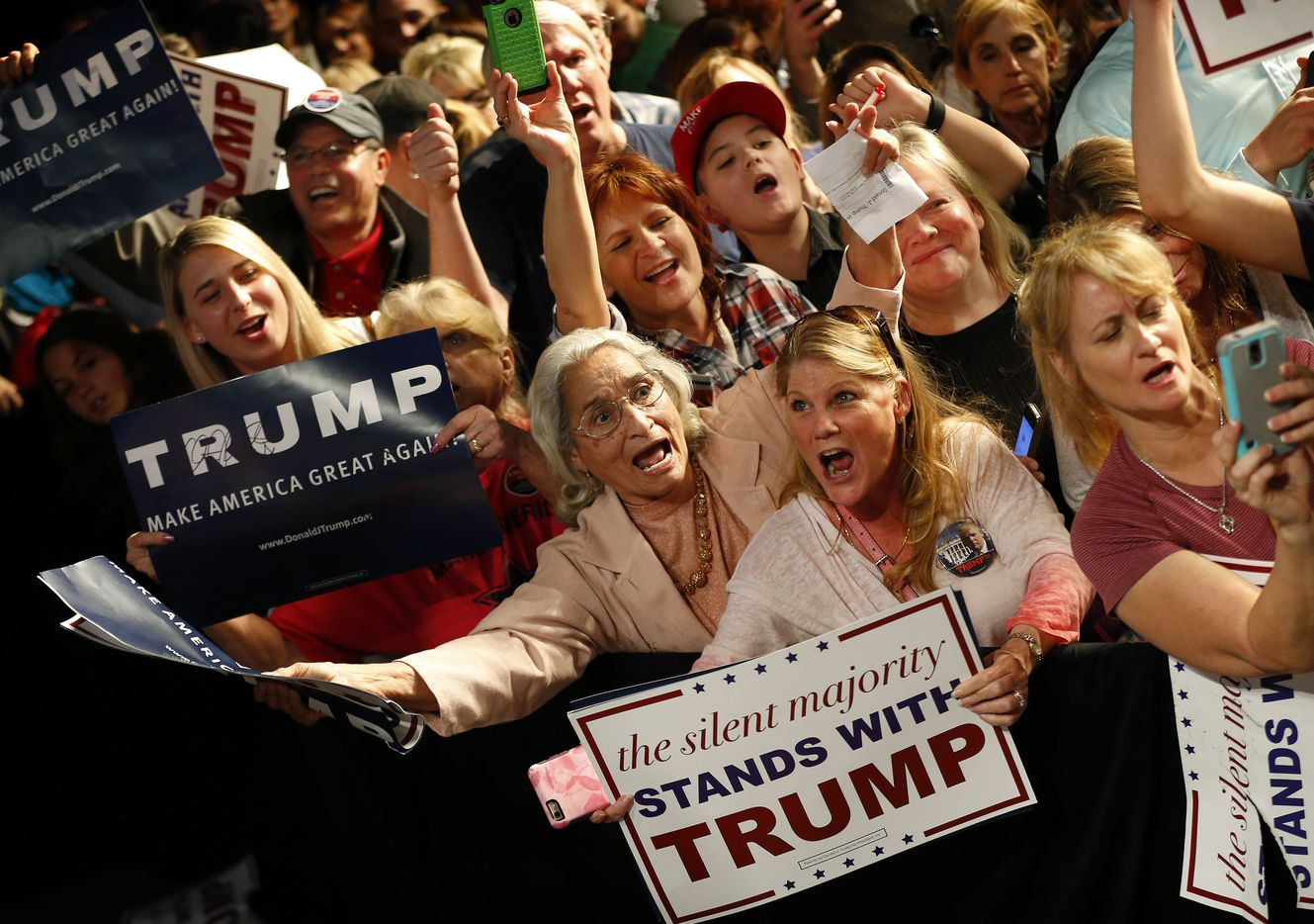 Supporters of Republican presidential candidate Donald J. Trump and New Jersey Gov. Chris Christie yelled for their attention following a rally at the Fort Worth Convention Center on Feb. 26, 2016. Trump was campaigning in Texas ahead of the Super Tuesday elections.