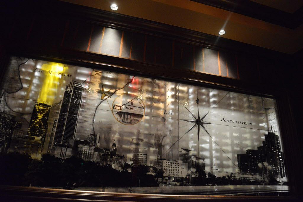 A mural of the Dallas and New Orleans skylines at Ruth's Chris Steak House opening on Cedar Springs Road in Dallas on Thursday, Nov., 5, 2015. (Rachel Woolf/The Dallas Morning News)