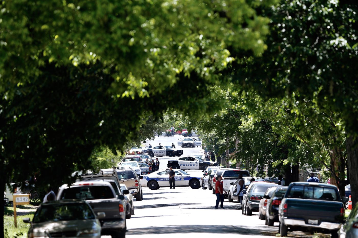 Police respond to the scene of the shooting  (Vernon Bryant/The Dallas Morning News)