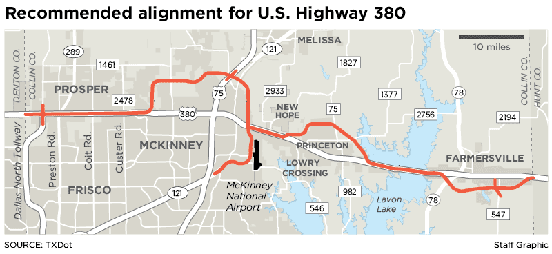 The alignment unveiled Monday by the Texas Department of Transportation calls for the widening of the existing U.S. Highway 380 in some portions of Collin County and the addition of bypasses in other portions.