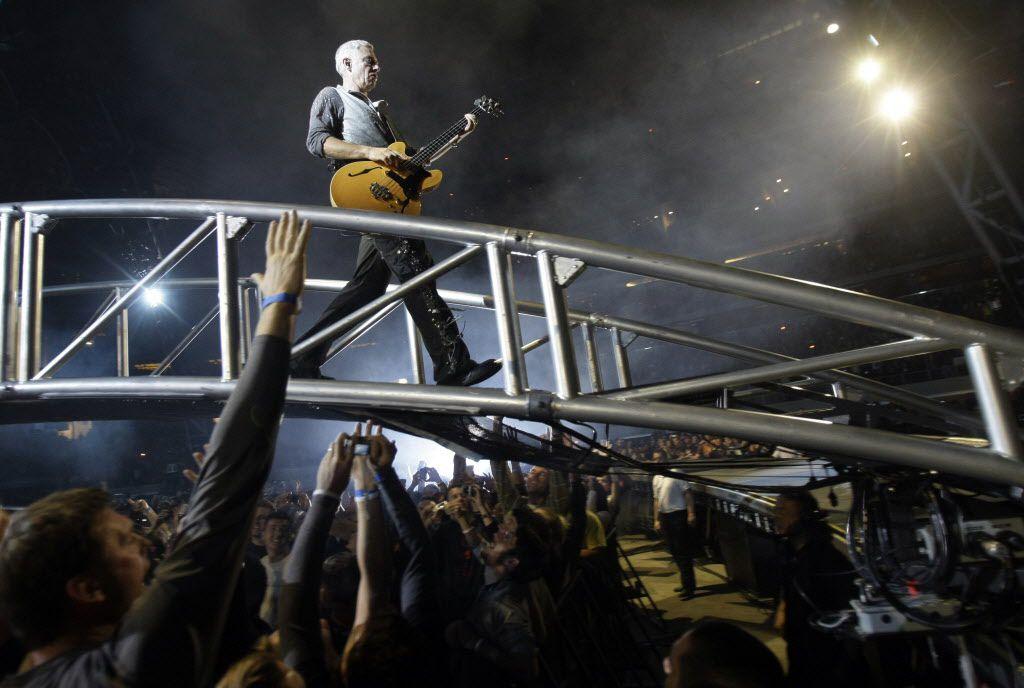 U2's Adam Clayton performs at Cowboys Stadium in Arlington on Monday, October 12, 2009.