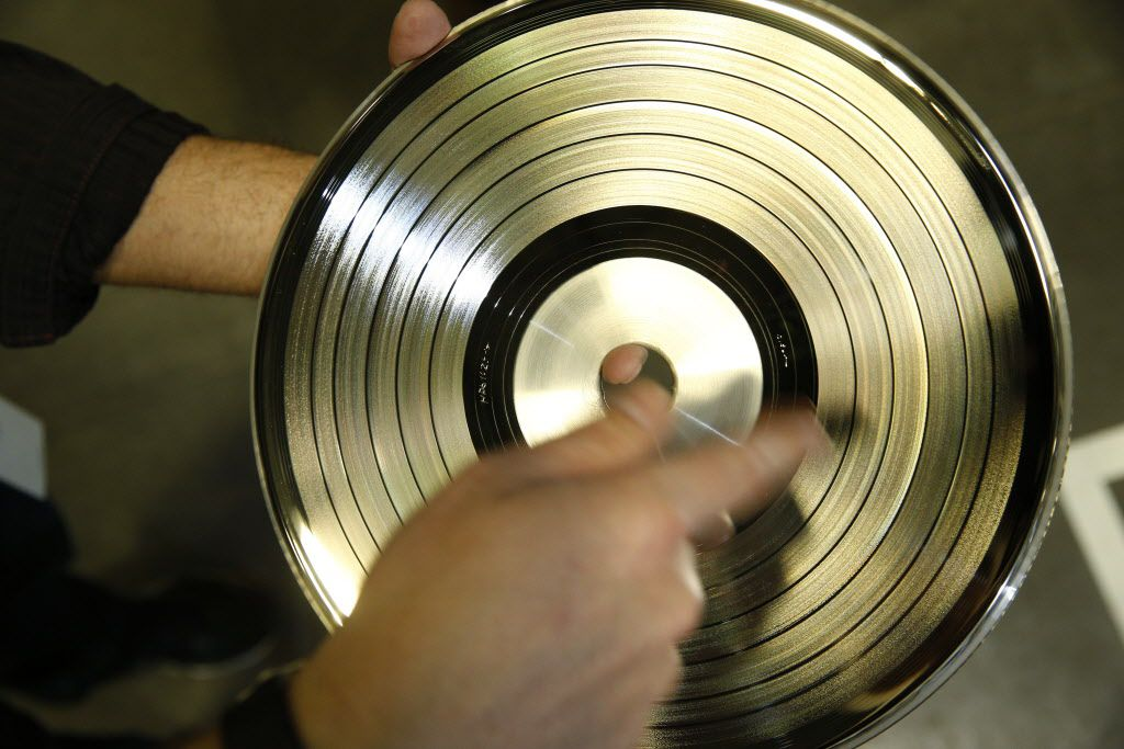 A metal master that is used to press records at Hand Drawn Pressing in Addison, Texas on January 17, 2017.