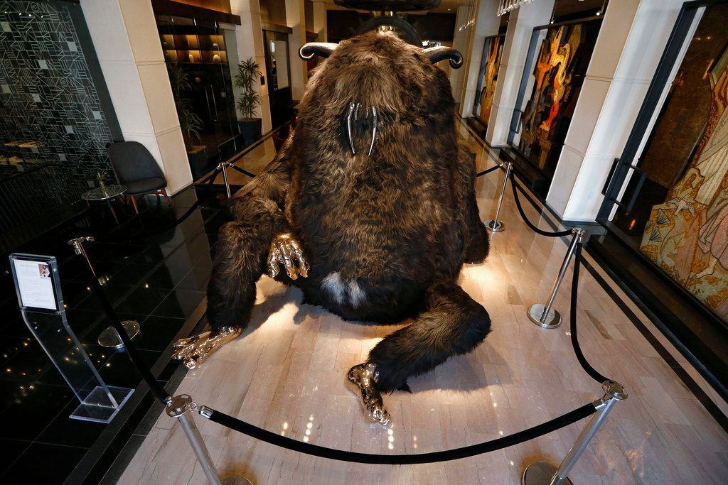 """""""King Dong"""" sculpture by Haas Brothers, (Simon and Niki) at The Joule Hotel in Dallas on March 13, 2018. (Nathan Hunsinger/The Dallas Morning News)"""