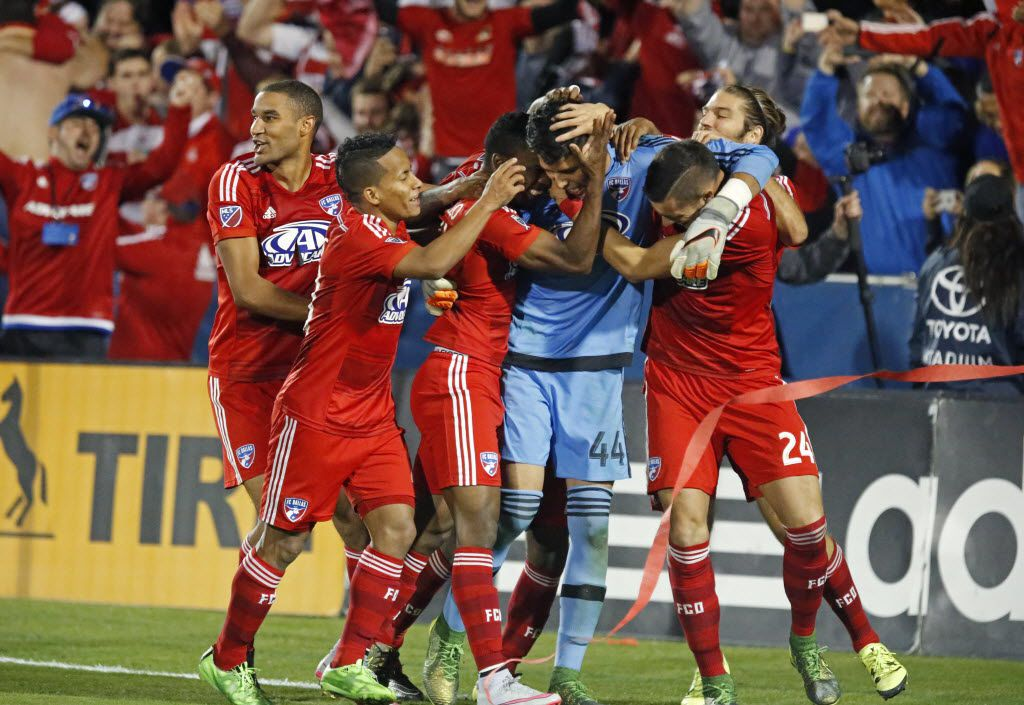 FC Dallas goalkeeper Jesse Gonzalez (44) is mobbed by team mates after he they won a shoot out on two saves by Gonzalez as FC Dallas hosted Seattle Sounders FC at Toyota Stadium in Frisco on Sunday, November 8, 2015.  (Stewart F. House/Special Contributor) ORG XMIT: 20027485A