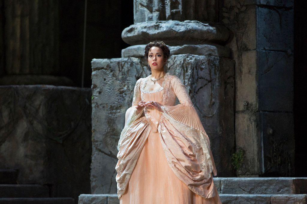 This 2017 photo provided by the Metropolitan Opera shows Nadine Sierra as Ilia in Mozart's  Idomeneo in New York.