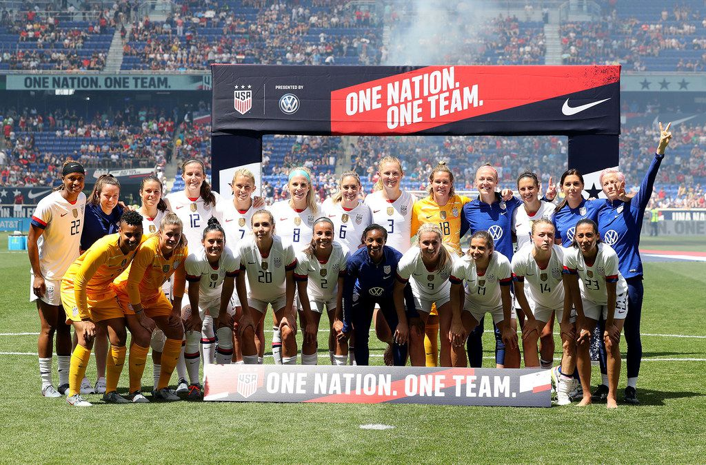 The United States national team poses for a picture after a match against Mexico at Red Bull Arena in Harrison, N.J., on May 26, 2019. (Elsa/Getty Images/TNS)