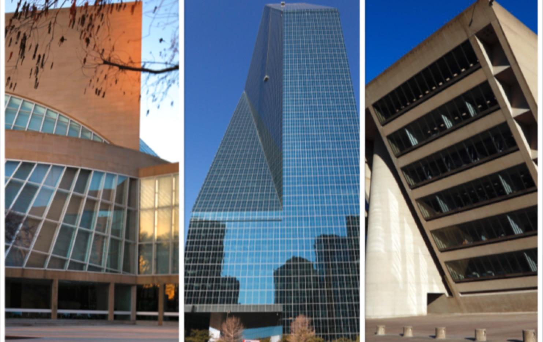 Edificios de Dallas que fueron diseñador por el arquitecto I.M. Pei. El Morton H. Meyerson Symphony Center, el edificio Fountain Place y el edificio de Dallas City Hall.(DMN)