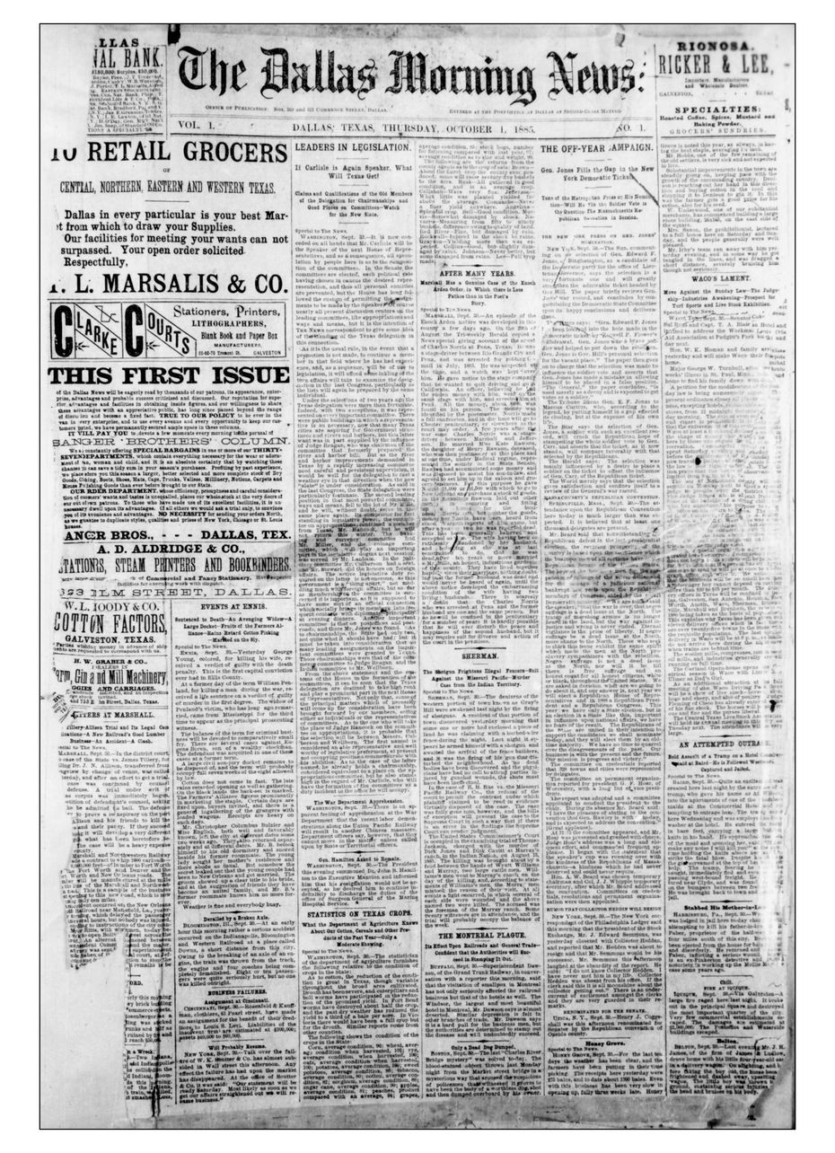The front page of  the first issue of The Dallas Morning News on Oct. 1, 1885.