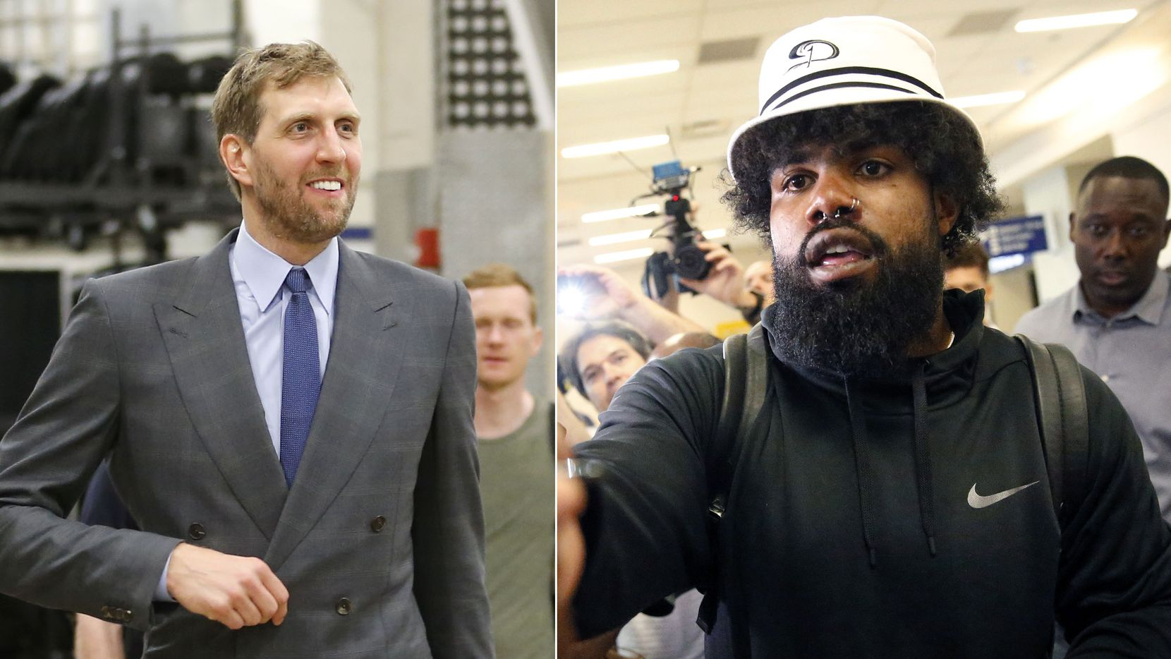 Staff photos: (Left) Retired Dallas Mavericks forward Dirk Nowitzki; (Right) Dallas Cowboys running back Ezekiel Elliott.