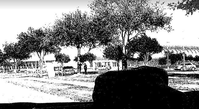 An undercover FBI agent's grainy cellphone photo of Garland ISD Security Officer Bruce Joiner and Garland police Officer Greg Stevens, taken from a car 30 seconds before terrorists opened gunfire on the officers on May 3, 2015.