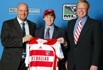 Dax McCarty on draft day with FC Dallas Head Coach Colin Clarke (left) and FC Dallas General Manager Michael Hitchcock