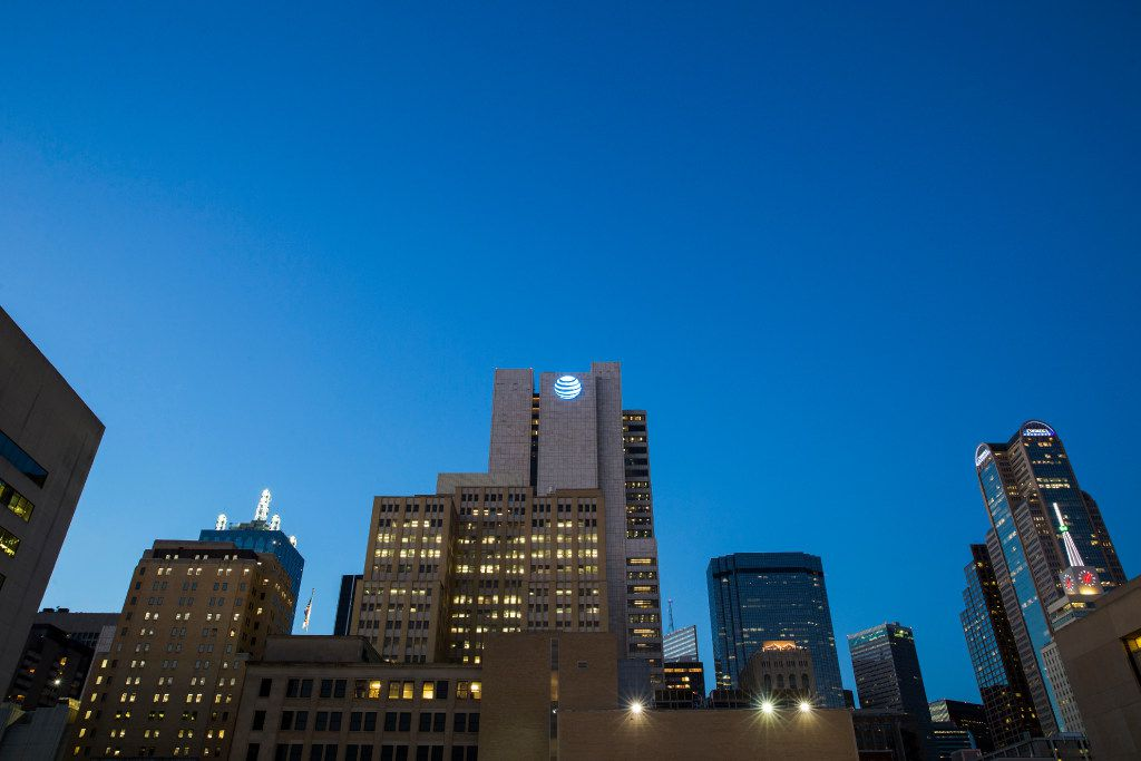 The AT&T headquarters building, center, surrounded by other downtown buildings on Monday, October 24, 2016 in downtown Dallas. (Ashley Landis/The Dallas Morning News)