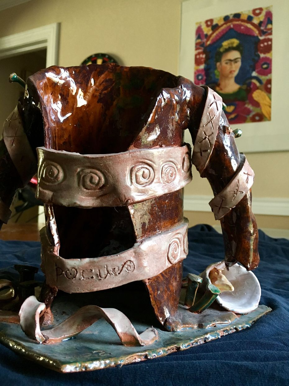 """My awkward attempt at ceramic art in college was inspired by Frida Kahlo's """"The Broken Column."""""""