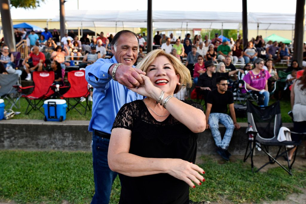 Irma and Leonard Naranjo dance to the music of Havana NRG at the 2017 Latino Heritage Festival in DeSoto. This year's fest is Sept. 7.