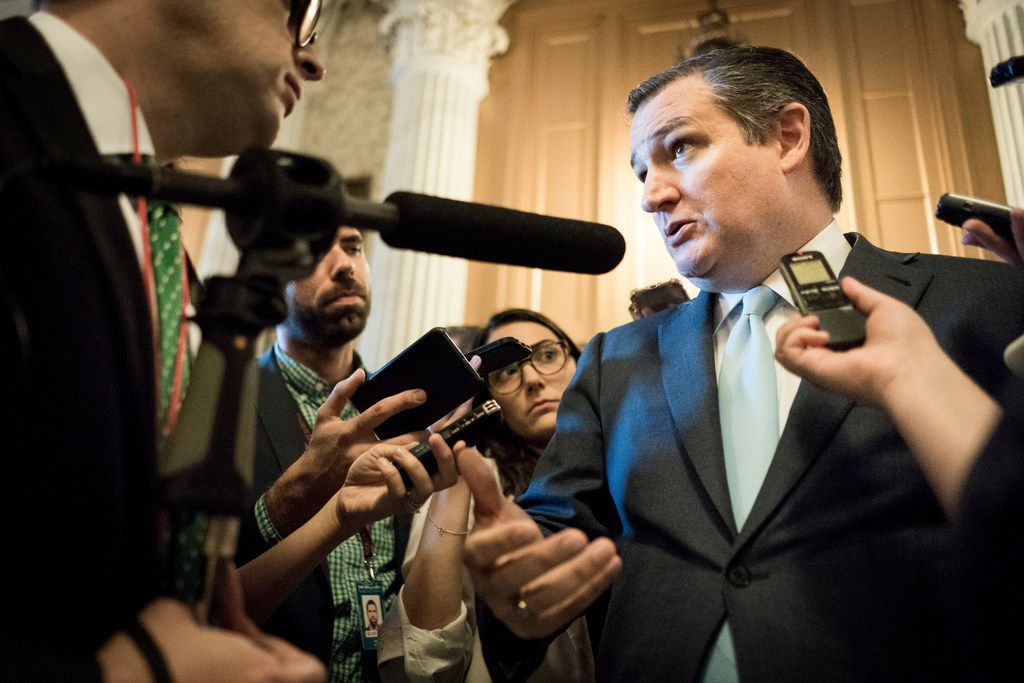 Sen. Ted Cruz (R-Texas) talks with reporters on Capitol Hill in Washington, June 19, 2018. President Donald Trump on Tuesday rejected a proposal from Cruz that would end family separations by boosting personnel in immigration courts, suggesting that many of the immigration judges could be corrupt. (Erin Schaff/The New York Times)
