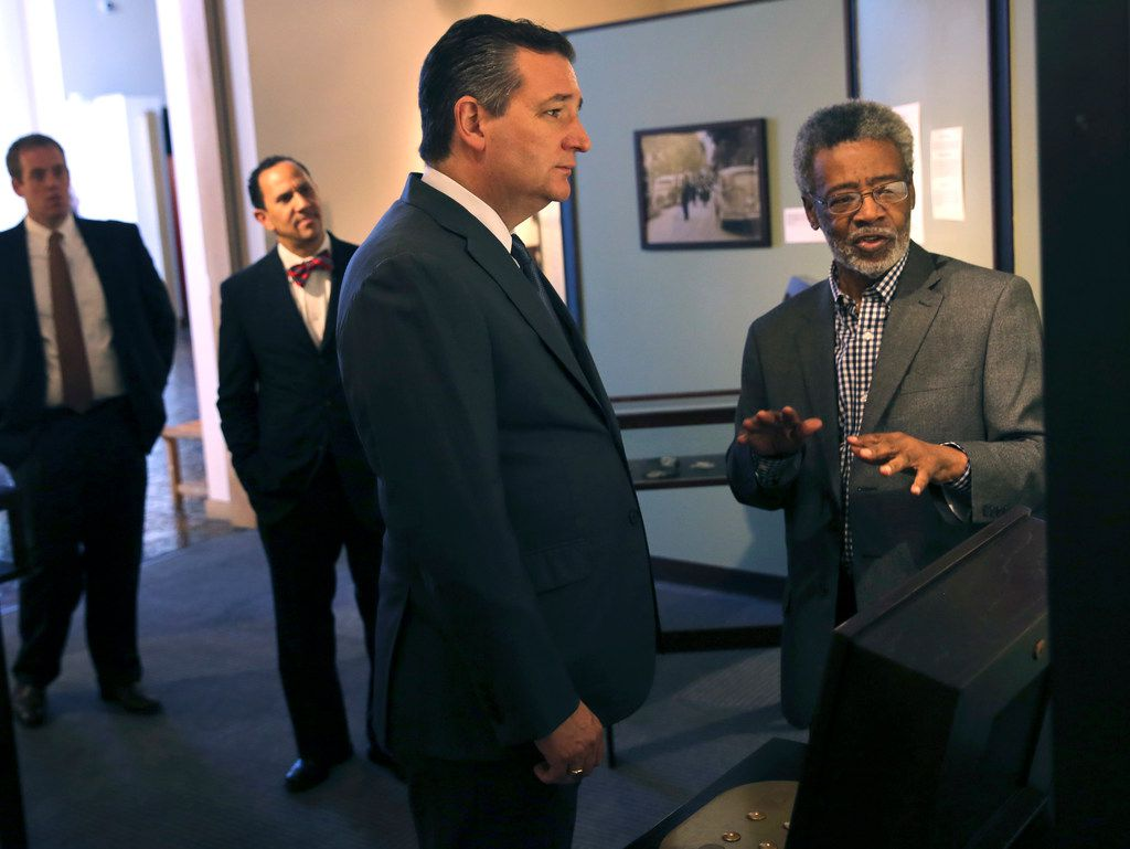 Dr. Harry Robinson Jr. (right), 77, is the director of the African American Museum at Fair Park. He's the only director the museum has had in its 45 years, in fact. He gave U.S. Sen. Ted Cruz, R-Texas, a tour of the museum in 2018.