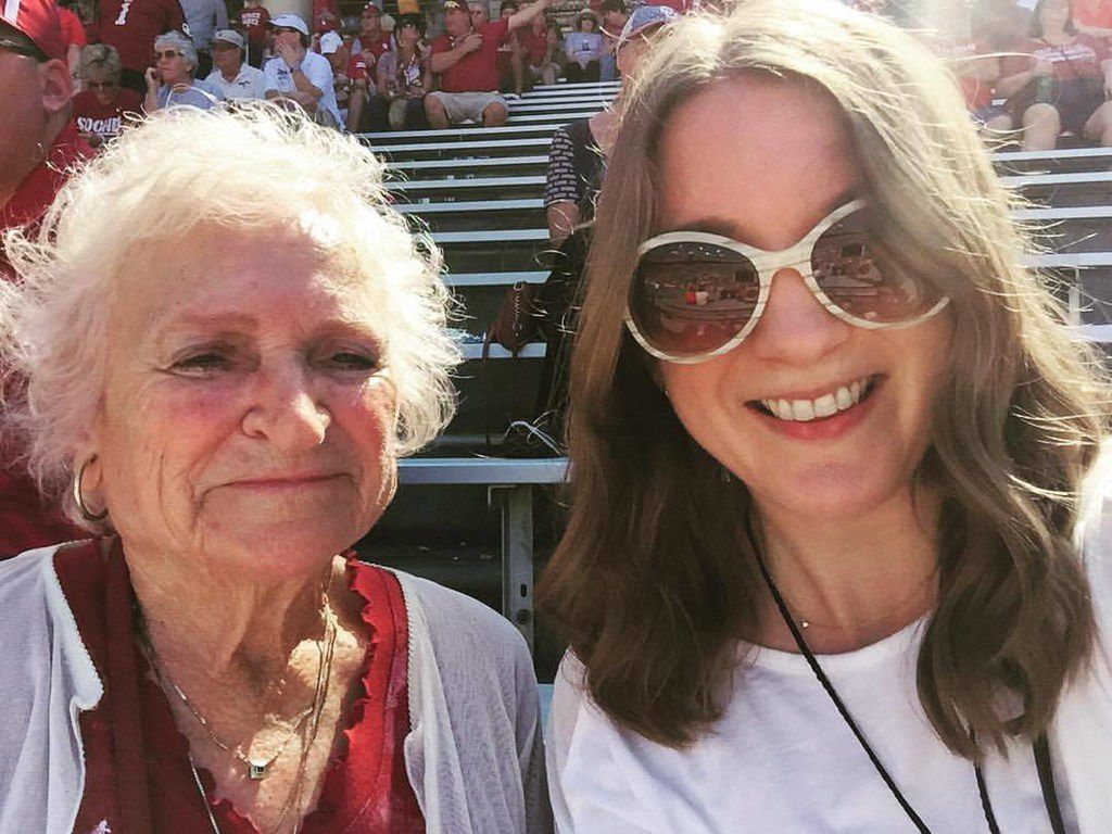 Nancy McCall (left), Nanette Light's grandmother, poses for a selfie with Light at the OU-Texas game on Oct. 14 at the Cotton Bowl. (Provided by Nanette Light)