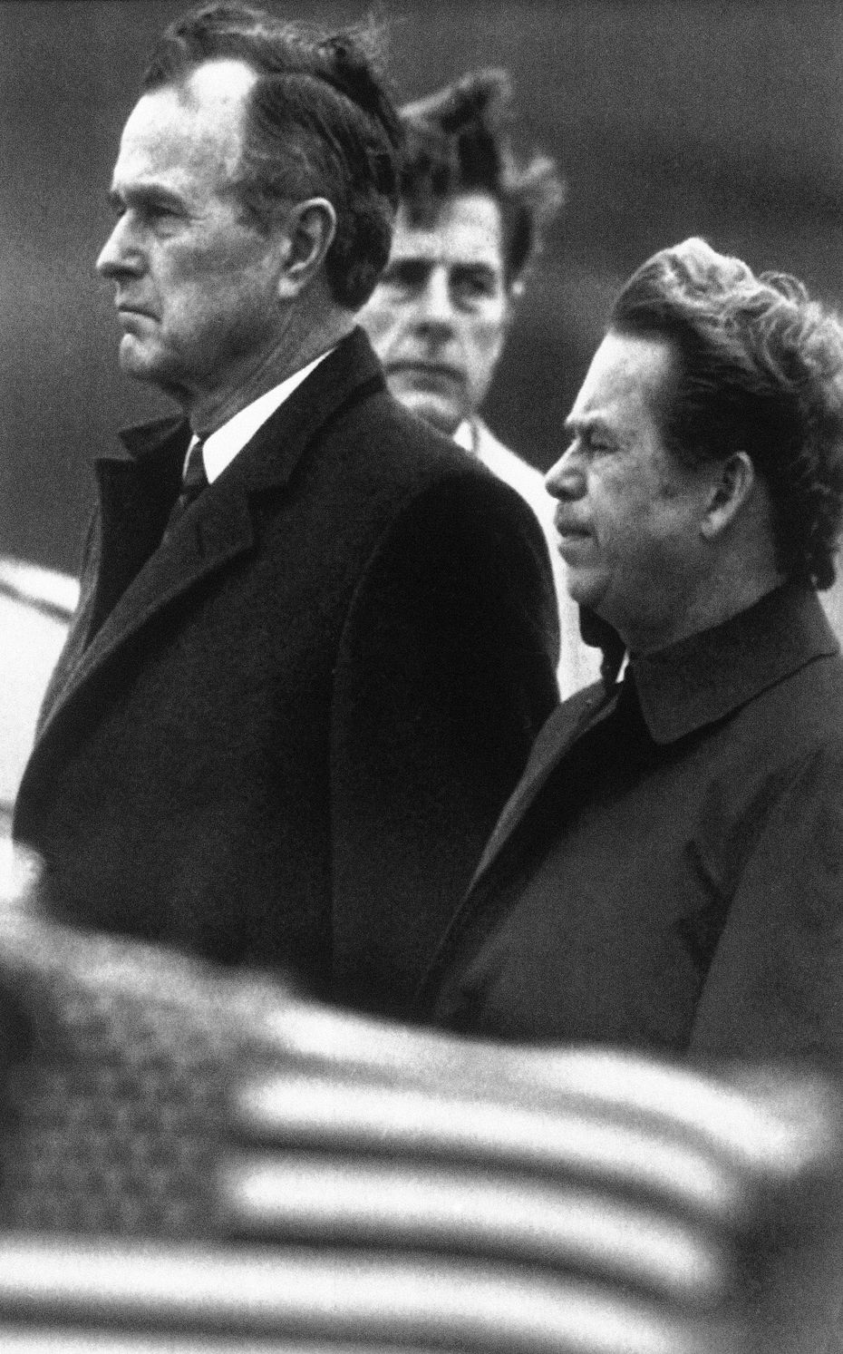 Bush stands with Czech President Vaclav Havel (right) in Prague in November 1990.