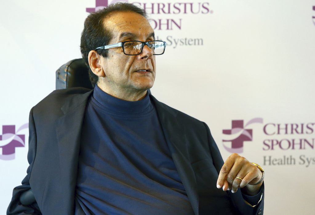 In this March 31, 2015, file photo, Charles Krauthammer talks about getting into politics during a news conference in Corpus Christi.