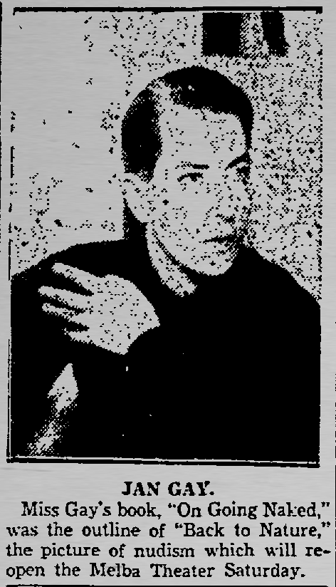 An excerpt from a Sept. 15, 1933, Dallas Morning News article about Jan Gay's film Back to Nature