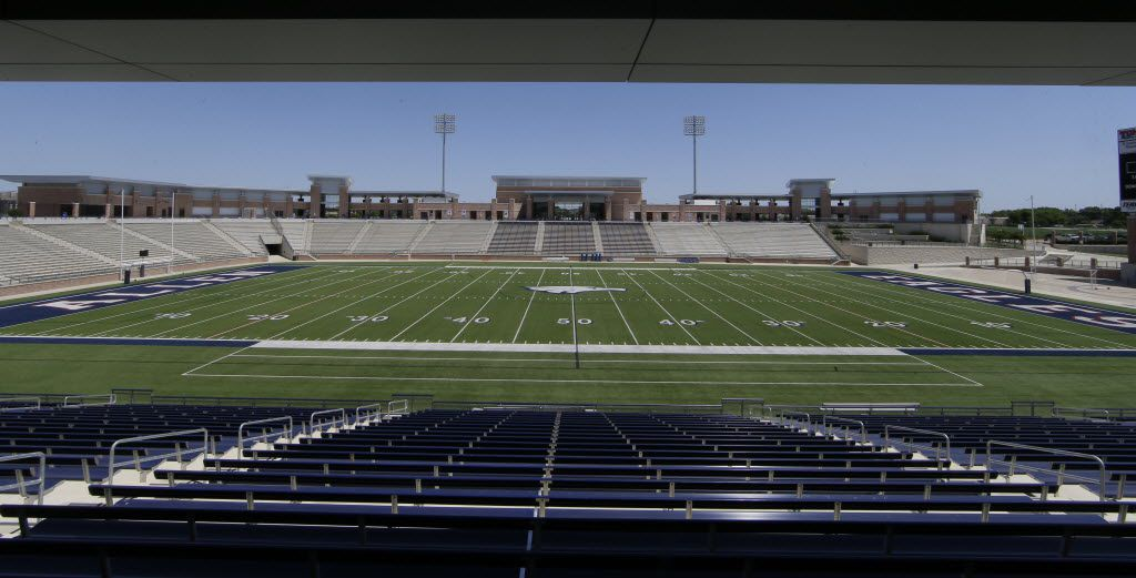 In this photo made Thursday, April 28, 2016, the Allen High School Eagle Stadium is shown in Allen, Texas. This suburban Dallas school district grabbed national attention in 2012 when it opened this eye-popping $60 million high school football stadium. Are such exorbitant price tags for high school stadiums the new normal? Only in Texas, it seems.   (AP Photo/LM Otero)
