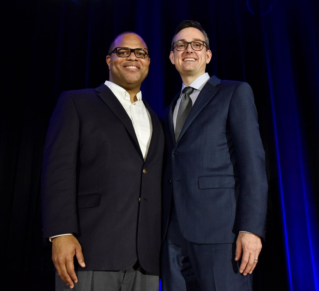 Dallas Mayoral candidates Eric Johnson, left, and Scott Griggs, pose for a photo after participating in a Mayoral run-off forum hosted by the Jewish Community Relations Council of the Jewish Federation of Greater Dallas, May 23, 2019 at the Aaron Family Jewish Community Center in Dallas. Ben Torres/Special Contributor