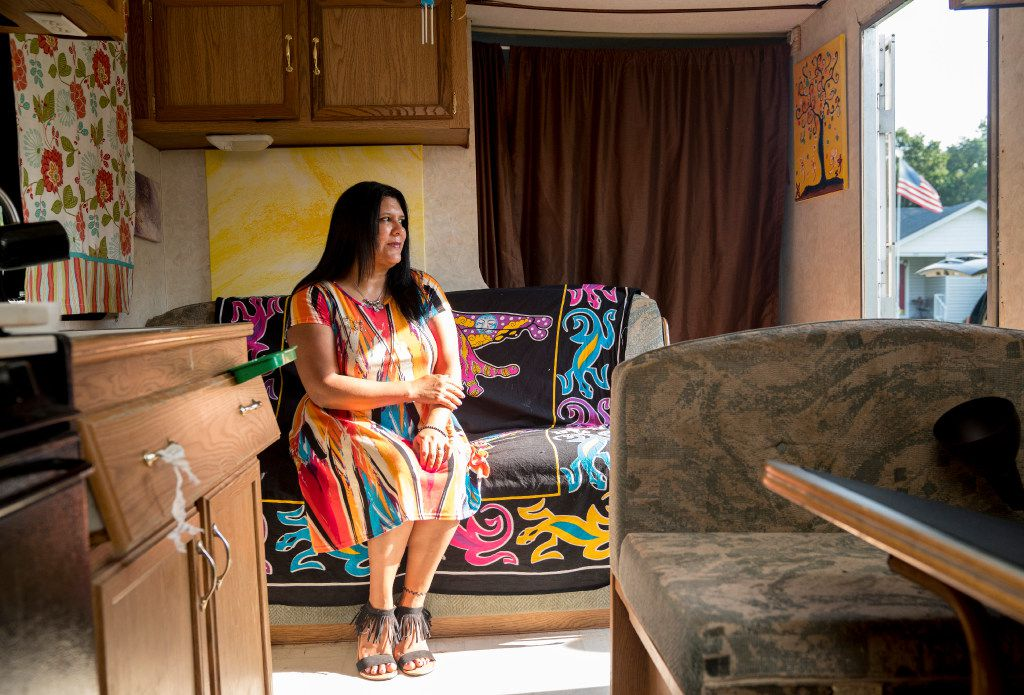 [EDS NOTE: Freelance photo for use only in The Dallas Morning News and it's subsidiaries' print and digital products. No sales, sharing or wire distribution to other non-DMN publications.] -- Tammy Sefander Knotts sits in her camper that her and husband Kenny often travel in, Friday, July 21, 2017 in Manchester, TN. Sefander Knotts says sheÕs broke but her financial struggles haven't stopped her from investing in a Dallas oil company that's never struck oil. Knotts, who often lives in an RV traveling throughout middle Tennessee, buys more stock in Zion Oil & Gas whenever she can spare some money. The 43-year old sees Zion shares as an investment in her financial future and a religious imperative. (Sanford Myers/Special contributor, for The Dallas Morning News)