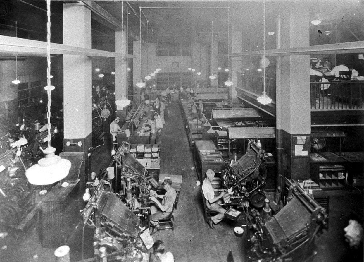 Early linotype machines and operators at work c. 1924