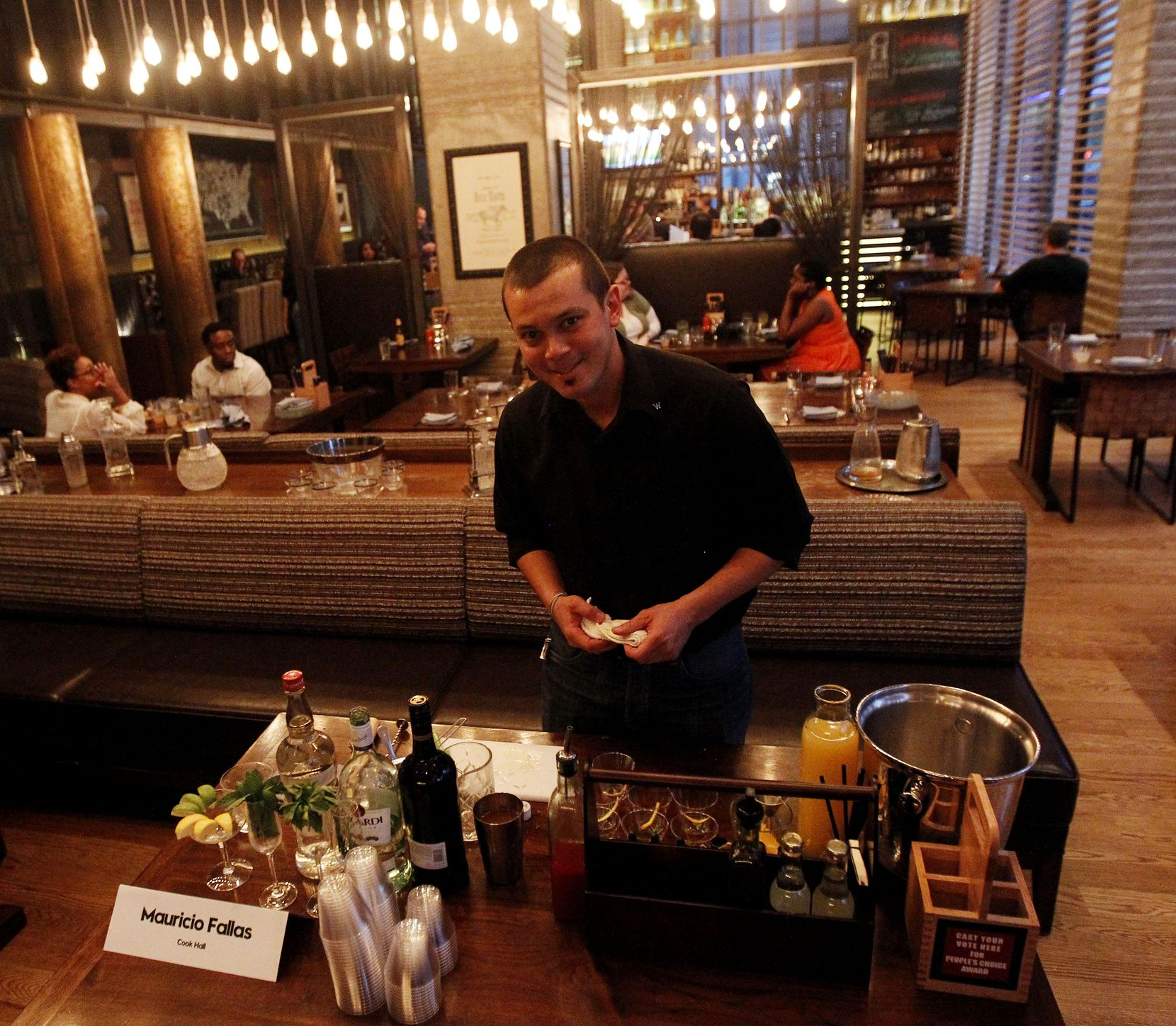 Bartender Mauricio Fallas of Cook Hall at the W Dallas in Victory Park.