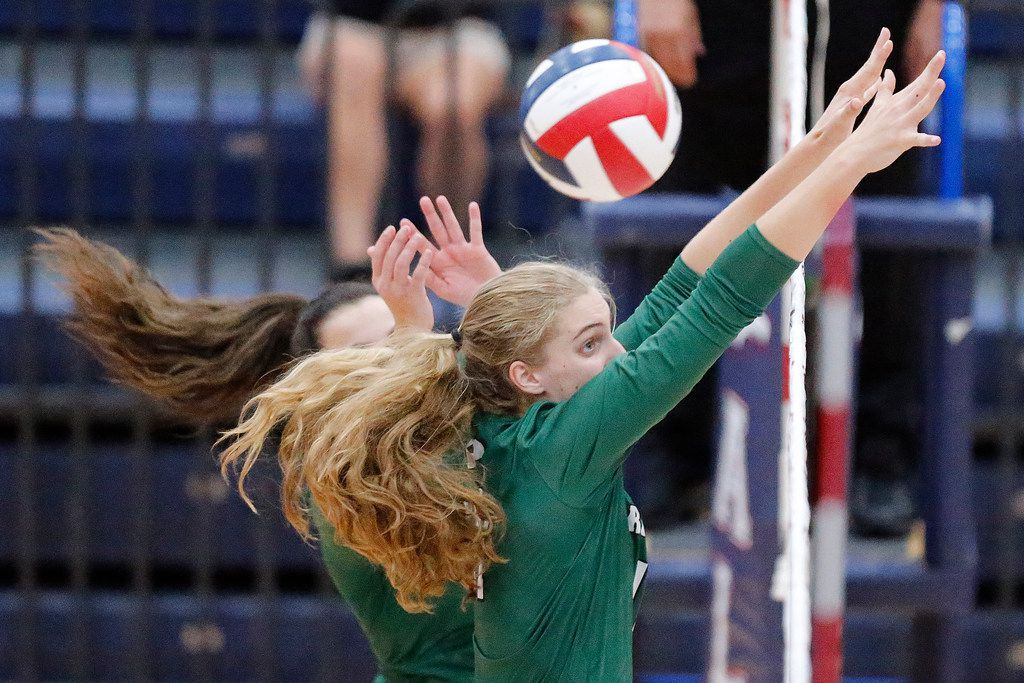 Prosper High School middle blocker Shaylee Shore (11) attempts a block during game one as Allen High School hosted Prosper High School in a District 9-6A volleyball match in Allen on Tuesday, October 1, 2019. (Stewart F. House/Special Contributor)