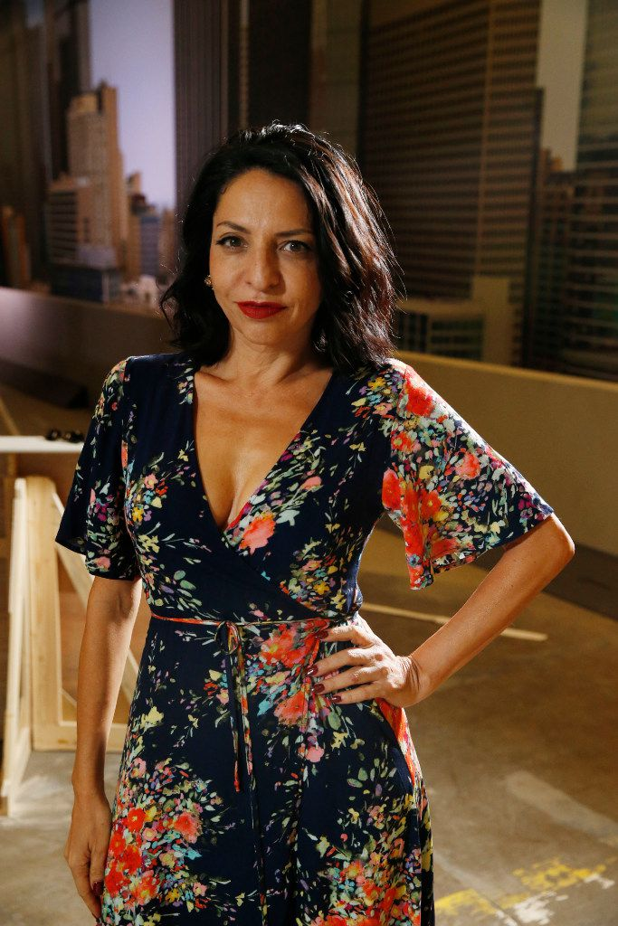 Veronica Falcon poses for a portrait during a visit to the set of Queen of the South at South Side Studios in Dallas on May 25, 2017.