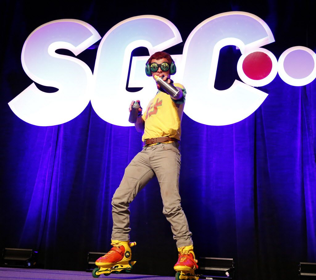 Bryan Lochner of Essex, Ill., dressed as Beat from the Jet Set Radio video game.