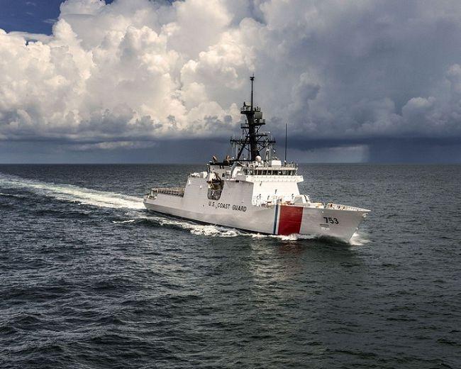 The U.S. Coast Guard cutter, Hamilton, on patrol.