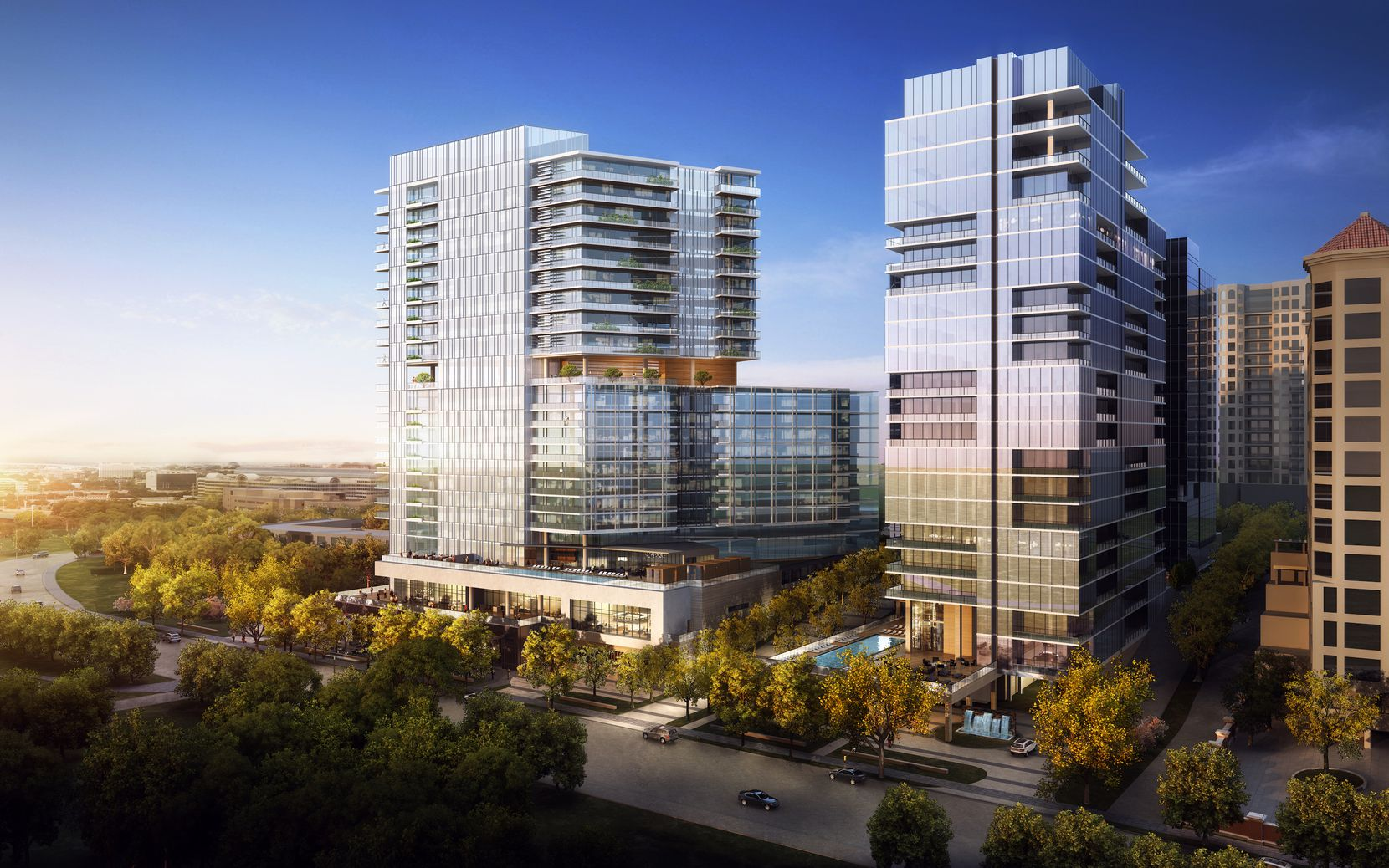 The three-tower development would replace two vacant insurance buildings on Turtle Creek.