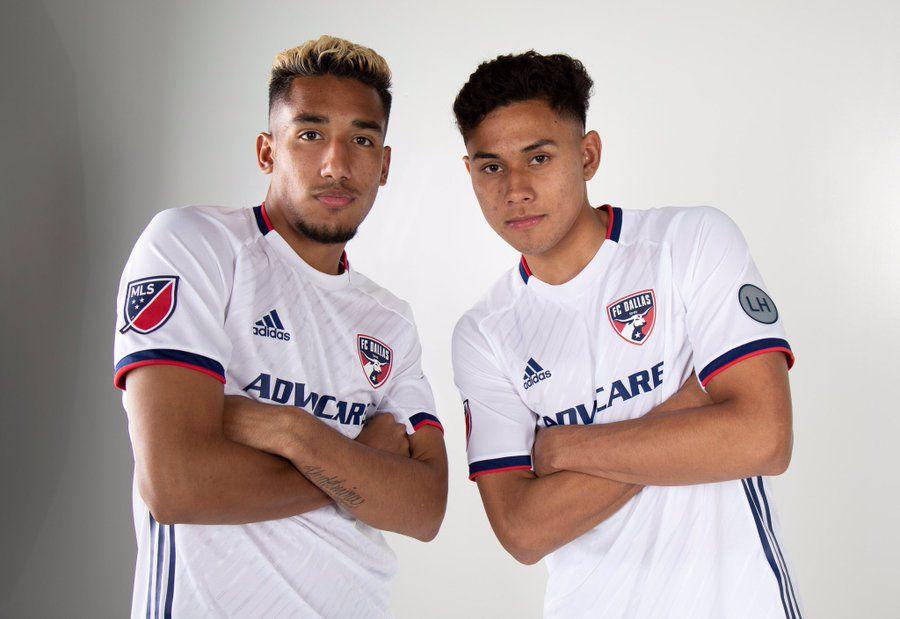 Jesus Ferreira (left) and Edwin Cerrillo (right) both just 18 pose in the new FC Dallas secondary kit for 2019.