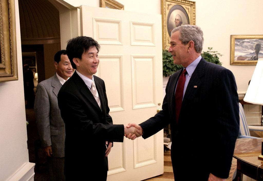 President George W. Bush welcomed Kang Chol-hwan, author of The Aquariums of Pyongyang: Ten Years in the North Korean Gulag, to the White House on June 13, 2005. Kang and his family spent 10 years in a concentration camp after his grandfather was accused of treason by the Kim regime.